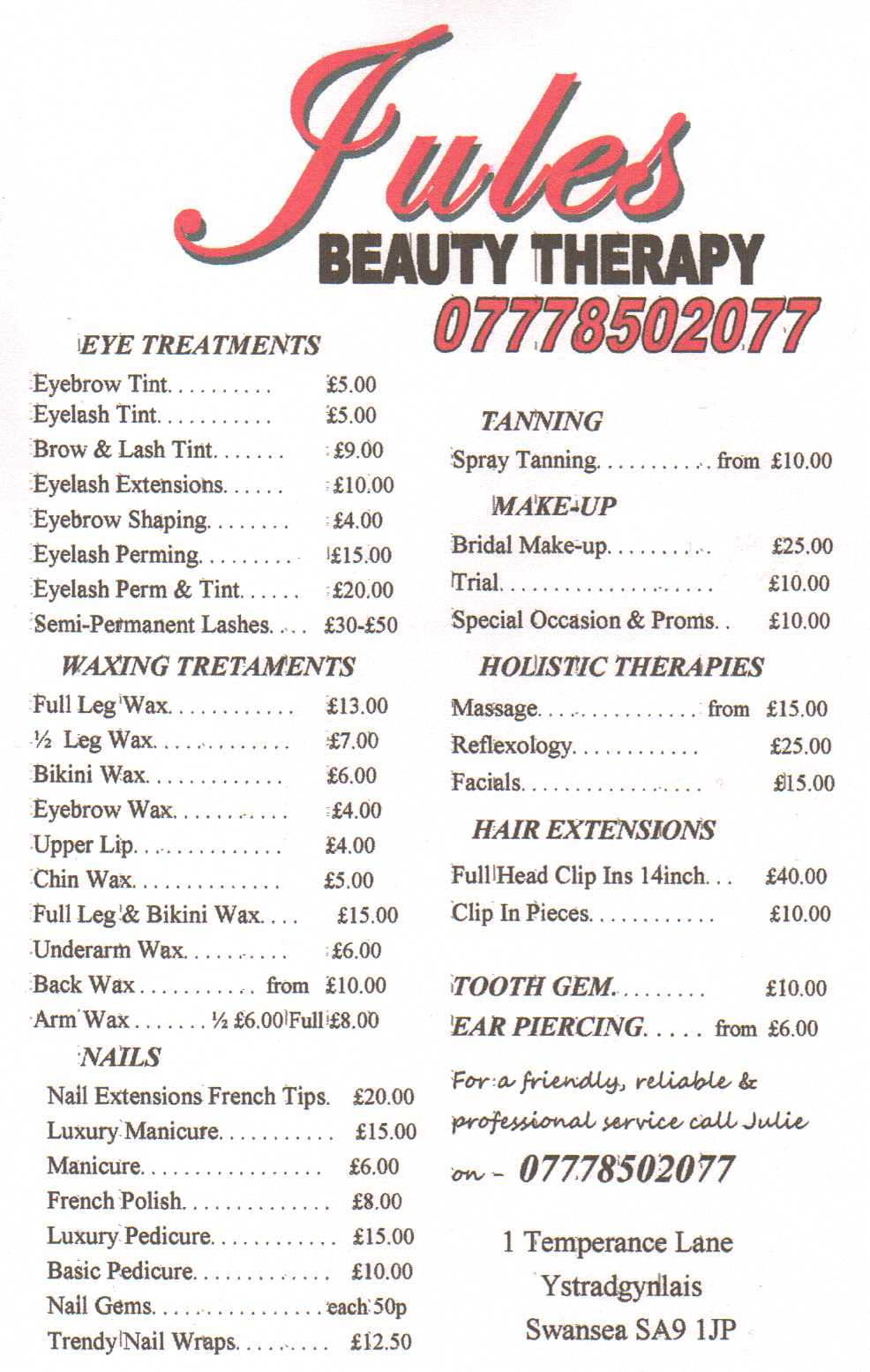 Swanbiz business card member jules beauty therapy ystradgynlais magicingreecefo Image collections